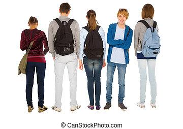 studenci, teenage, plecak