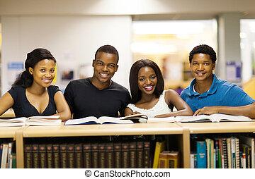 studenci, uniwersytet, biblioteka, afrykanin
