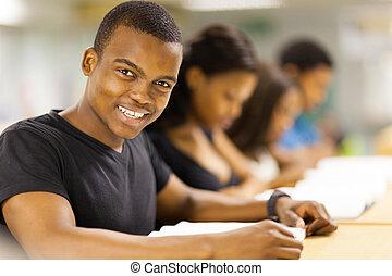 studenci, uniwersytet, grupa, afrykanin