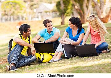 studenci, uniwersytet, grupa, odprężając, outdoors
