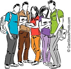 studenci, wektor, grupa, ilustracja
