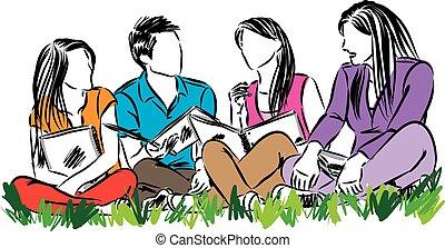 studenci, wektor, grupa, ilustracja, posiedzenie