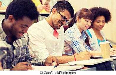 studenci, wykład, grupa, międzynarodowy
