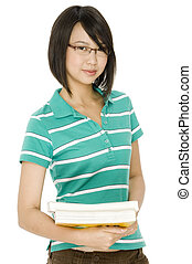 Student - A college student carrying two big books on white...