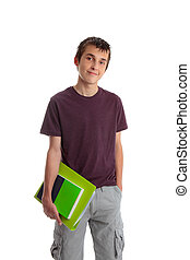 Student - A male student carrying books and folder. White...