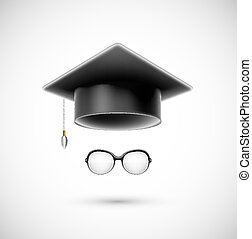 Student accessories (hat and glasses). Eps 10