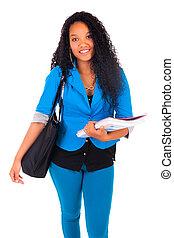 student, amerikaan, vrouwelijke afrikaan, verticaal, het glimlachen