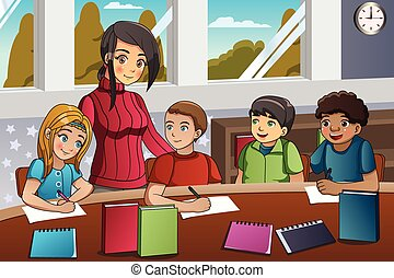 teacher and students in classroom a vector illustration of kids rh canstockphoto com students sitting in class clipart students sitting in classroom clipart