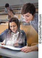 Student and teacher using futurist