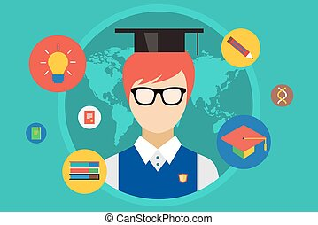 Student and university objects illustration. Education, college or school symbols. Stock design elements