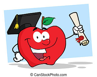 Student Apple Holding A Diploma
