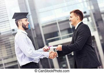 Student at graduation ceremony
