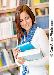 Student at library read book high school