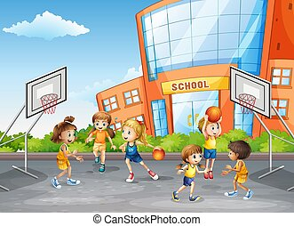 Student at physical education class illustration