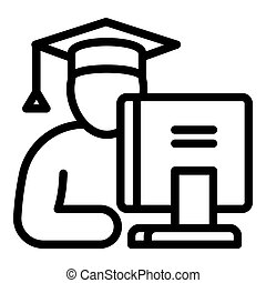 Student at the computer icon, outline style