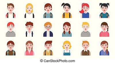 student avatar with various hair style, flat design -...