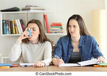 student, avvisa, henne, asmathic, vän