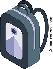 Student backpack icon, isometric style