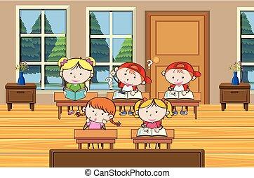 student, badając, klasa