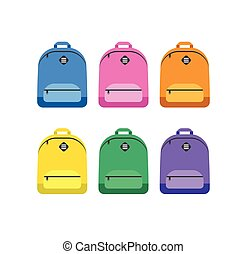 Student bag, backpack colorful set of icons