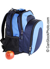 Student Back Pack With Apple, Isolated Over White