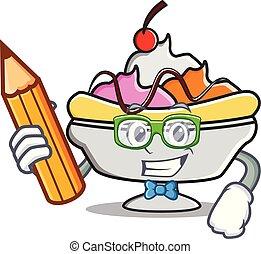 Student banana split character cartoon vector illustration