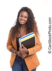 Student - Beautiful african student woman posing isolated...