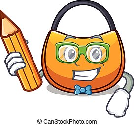 Student beautifully hobo bag on character funny vector...