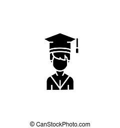 Student black icon concept. Student flat vector symbol, sign, illustration.
