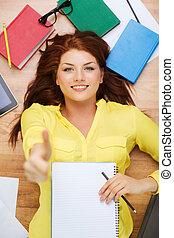 student, blyertspenna, le, lärobok, kvinnlig