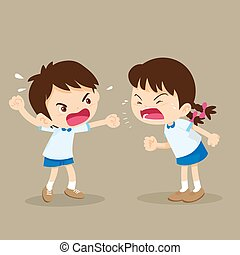 student boy and girl are quarreling - children shouting to...