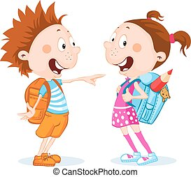 student boy and girl with school bag - vector illustration