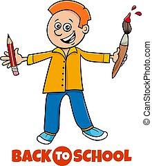 student boy back to school cartoon illustration