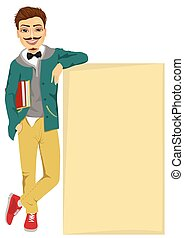 student boy leaning against a blank board
