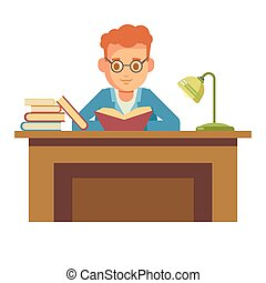 Student boy reading book in library sitting at table in bookshop vector flat icon