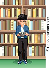Student Boy Reading in the Library Illustration