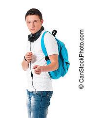 Student boy with headphones