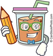 Student bubble tea character cartoon