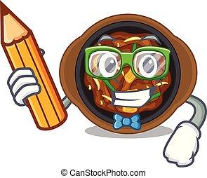 Student bulgogi in a the bowl cartoon