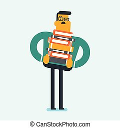 Student carrying a heavy pile of books on back.