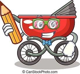 Student cartoon baby stroller in the beach