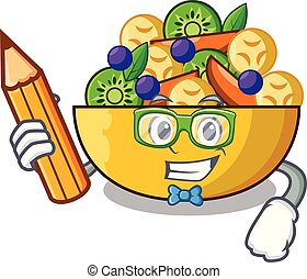 Student cartoon bowl healthy fresh fruit salad