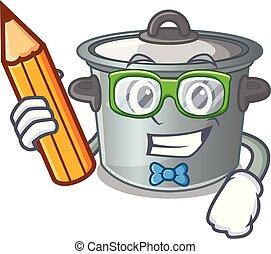 Student cartoon cookware stock pot in kitchen vector...