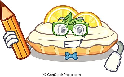 Student cartoon lemon cake with lemon slice