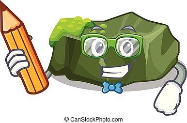 Student cartoon moss grow on sea rock vector illustration