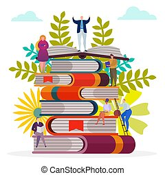 Student character at book stack, vector illustration. People read knowledge, man woman study in library concept. Cartoon education