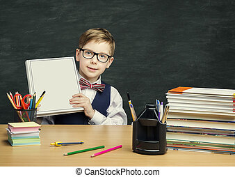 Student Child holding Book Cover, School Kid Boy in Classroom, Elementary Education