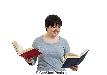 student choosing book to read