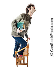 Student clambering