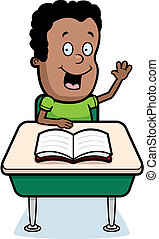 Student Classroom - A happy cartoon student at a desk in...